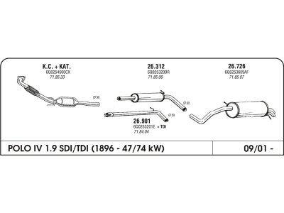 Izpuh Volkswagen Polo IV 1.9 SDI 00- srednji