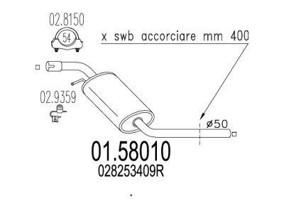 Izpuh Volkswagen Transporter 90-03, 2.4 D, srednji lonec