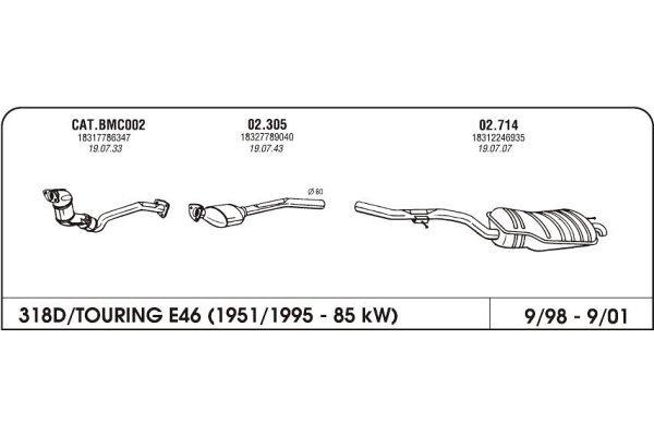 Izpuhi BMW 3 E46 1.8 98-05 drugi kat.