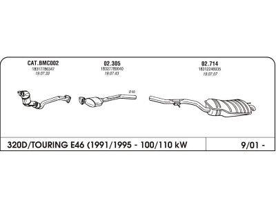 Izpuhi BMW 3 E46 2.0 98-05 drugi kat.