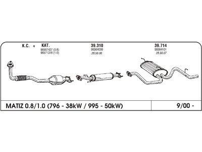 Izpuhi Daewoo Matiz 0.8 00- prednji