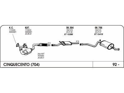 Izpuhi Fiat Cinquecento 0.7/0.9 92- zadnji