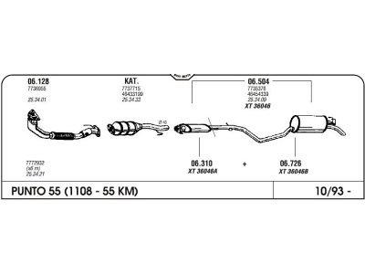 Izpuhi Fiat Punto 55 93- srednji
