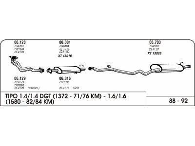 Izpuhi Fiat Tipo 1.4/1.6 88-92 prednji