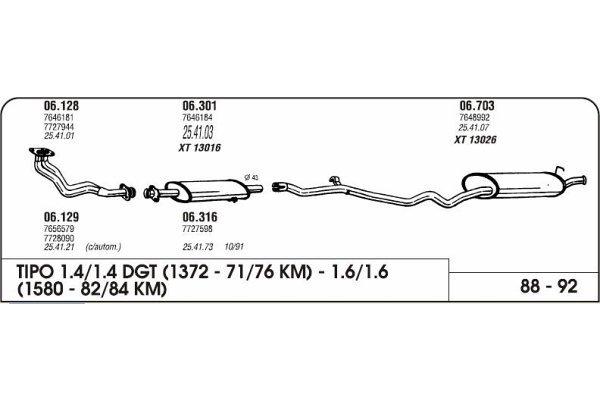 Izpuhi Fiat Tipo 1.4/1.6 88- kolektor