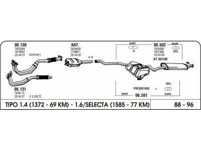 Izpuhi Fiat Tipo 1.6 93-96 komplet