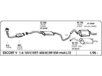 Izpuhi Ford Escort 1.6 95- srednji