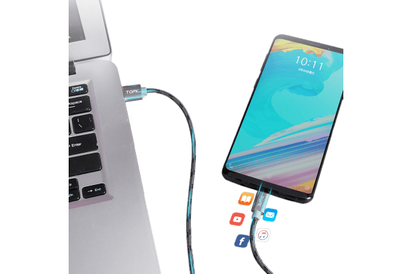 Kabel USB-8pin AN09, 3A, 1m, srebrn