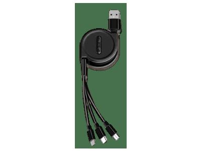 Kabel USB Eonline 2.5A 3 v 1, micro USB, 8 pin, USB C, 120 cm, črn