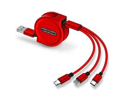Kabel USB Eonline 2.5A 3 v 1, micro USB, 8 pin, USB C, 120 cm, rdeč