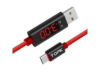 Kabel USB - USB C, AC27, 3A, 1m, rdeč