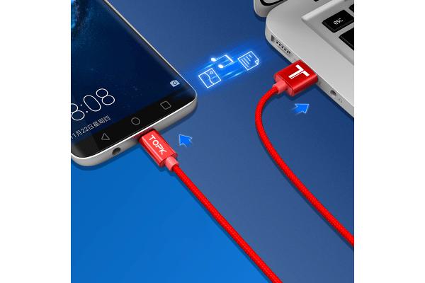 Kabel USB-USB C, AN18, 3A, 1m, rdeč