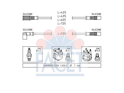 Komplet kablova za paljenje svječica  48.347 - Fiat Panda 80-04