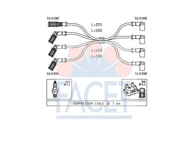 Komplet kablova za paljenje svječica 48.887 - Fiat Panda 80-04