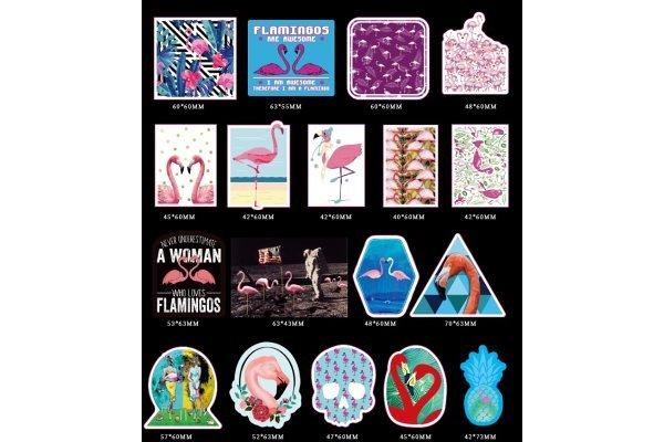 Komplet nalepk Rožnati Flamingo - 50 kosov - Super kvaliteta, Brezplačna dostava