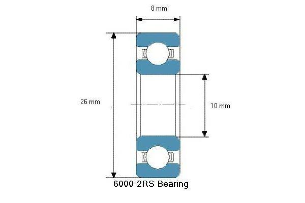 Kroglični ležaj 8x10x26, 10 kosov