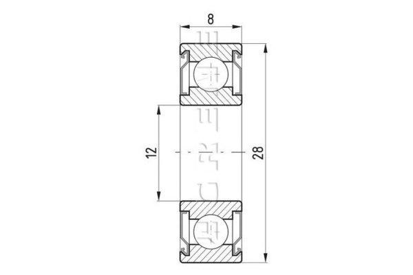 Kroglični ležaj 8x12x28 - 10 kosov, rdeči