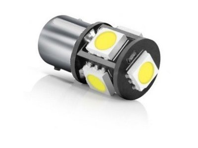 LED žarnice BA15S, 24V, 5xSMD, bela, 2 kosa