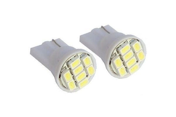 LED žarnice T10, 12V, 8xSMD, bela, 2 kosa