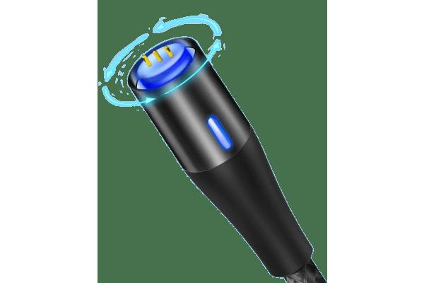 Magnetni kabel 3 u 1, 3.0A, mikro USB, USB-C, 8 pin, crna boja