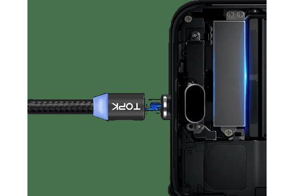 Magnetni kabel USB 3v1 2.4A, mikro USB, USB C in 8 pin, črna barva