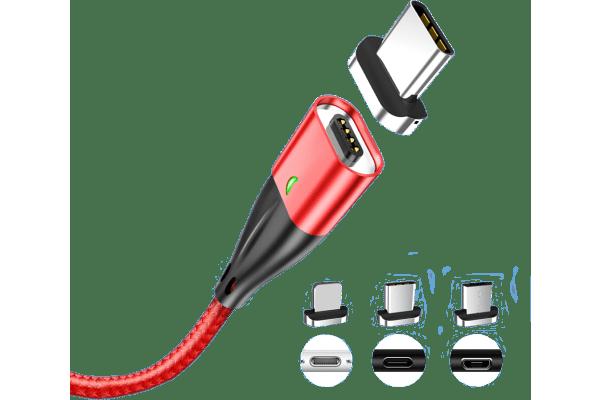 Magnetni kabel USB 3v1 QC3.0 18W 3A, micro USB, USB C in 8 pin, več barv