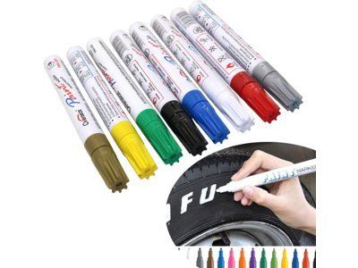 Markeri u boji za gume, staklo, plastiku, drvo i ostale površine, 12 komada