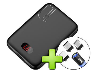 Mini prenosna baterija PowerBank, 10000 mAh, Digitalni prikaz + Magnetni kabel 3 v 1
