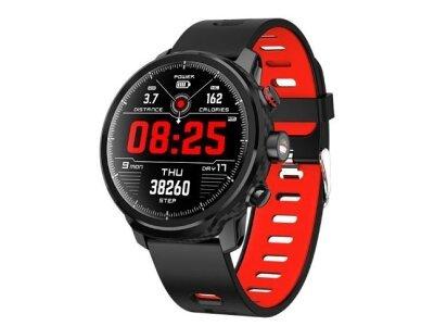 Moška športna pametna ura L5, vodoodboja IP68, števec korakov, merilec srčnega utripa, črno-rdeča