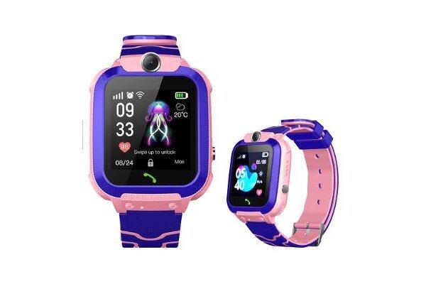 Pametna ura za otroke Q12, LBS + GPS, SOS tipka, Geo Fence, Klici, SMS, Roza