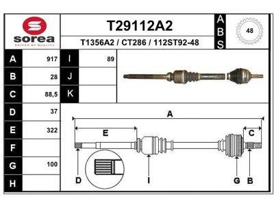 Polosovina (spredaj, desno) T29112A2 - Citroen XM 89-00