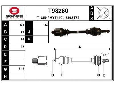 Polosovina (spredaj, desno) T98280 - Hyundai Accent 00-06 (samo po naročilu)