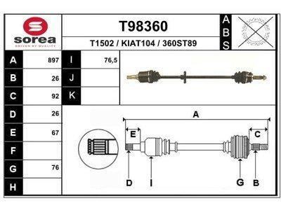 Polosovina (spredaj, desno) T98360 - Kia Sephia 92-97 (samo po naročilu)