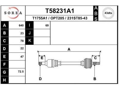 Polosovina T58231A1 - Opel Agila 00-08 (spredaj, levo) (samo po naročilu)