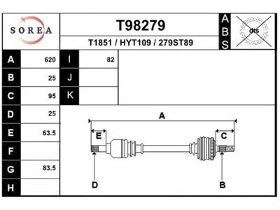 Poluosovina Hyundai Accent 00-06, 620mm