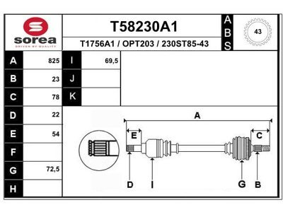 Poluosovina (prednja, desna) T58230A1 - Opel Agila 00-08 (samo po porudžbini)