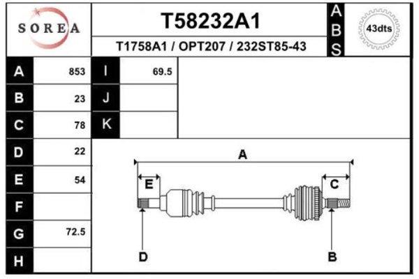 Poluosovina (prednja, desna) T58232A1 - Opel Agila 00-08 (samo po porudžbini)