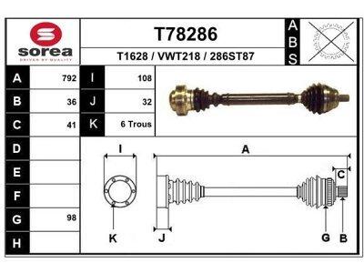 Poluosovina (prednja, desna) T78286 - Audi A3 03-12
