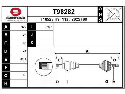 Poluosovina (prednja, desna) T98282 - Hyundai Lantra 95-00 (samo po porudžbini)