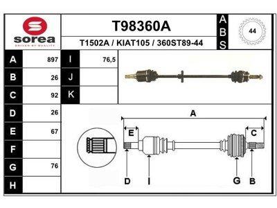 Poluosovina (prednja, desna) T98360A - Kia Sephia 92-97 (samo po porudžbini)