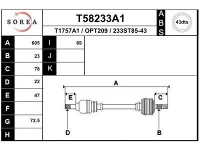 Poluosovina (prednja, leva) T58233A1 - Opel Agila 00-08 (samo po porudžbini)