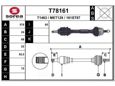 Poluosovina (prednja, leva) T78161 - Mercedes A (W168) 97-04 (samo po porudžbini)