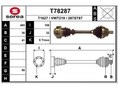 Poluosovina (prednja, leva) T78287 - Audi A3 03-12