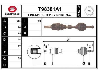 Poluosovina (prednja, leva) T98381A1 - Chrysler PT Cruiser 00- (samo po porudžbini)