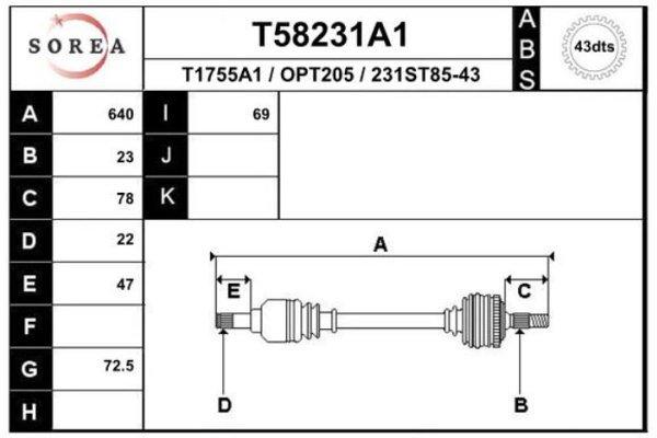 Poluosovina T58231A1 - Opel Agila 00-08 (prednja, leva) (samo po porudžbini)