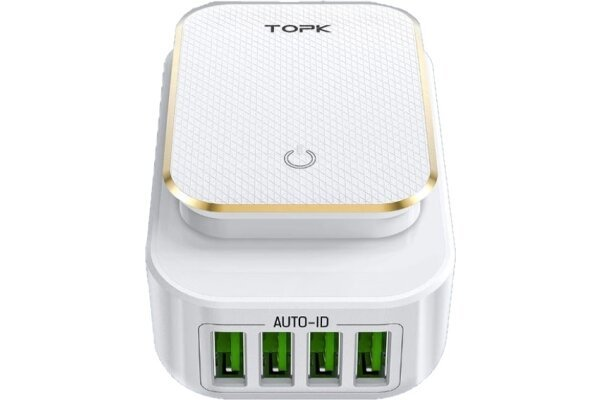 Potovalni polnilec Fast 4 USB 22W 5V , hitro polnjenje, 4 USB vhodi, nočna lučka