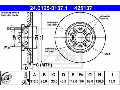 Prednja diskovi kočnica  24.0125-0137.1 - Audi A6 97-04