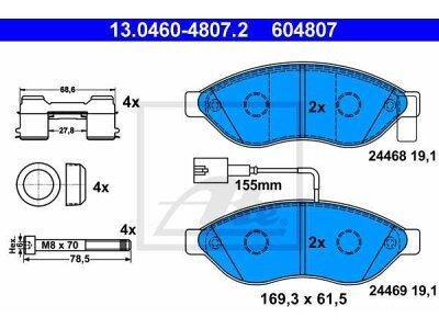 Prednje kočione obloge 13.0460-4807.2 - Citroen, Fiat, Peugeot
