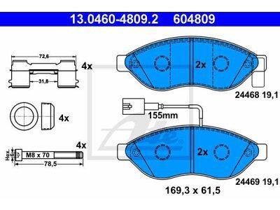 Prednje kočione obloge 13.0460-4809.2 - Citroen, Fiat, Peugeot