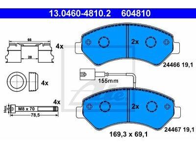 Prednje kočione obloge 13.0460-4810.2 - Citroen, Fiat, Peugeot